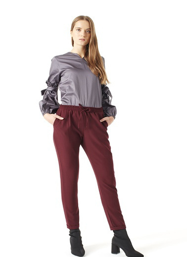 Mizalle Pantolon Bordo
